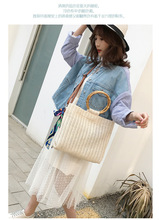 2019 Knitted Shoulder Beach Bag Summer Straw Silk Scarf Tote Bags for Women Handbag Bow Ladies Hand Bags Luxury Bag Bolsa Female недорого