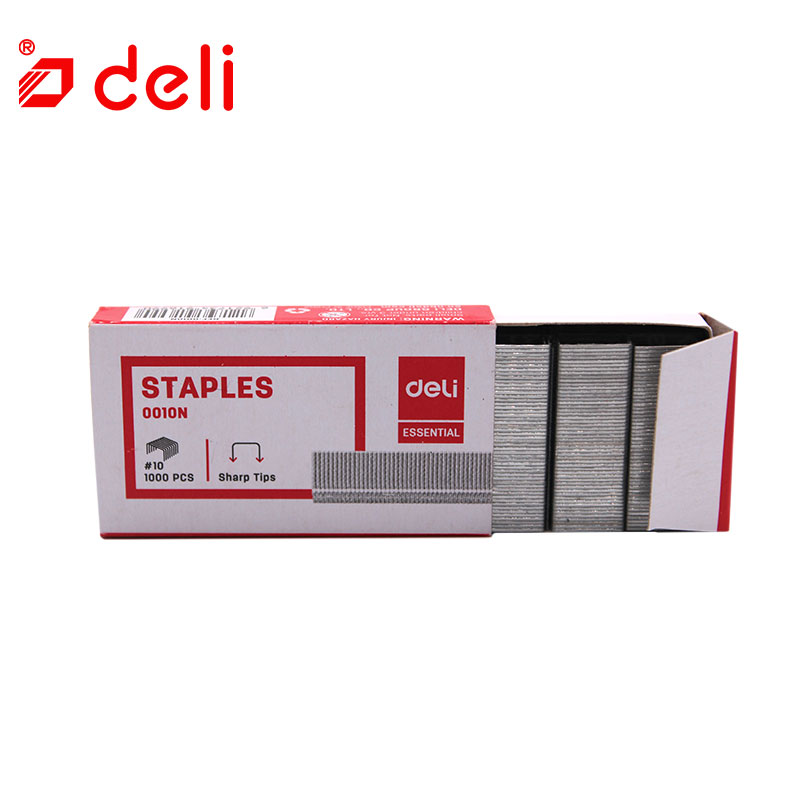 Deli 1000pcs/box Staples Office Metal Staple No.10 For Stapler Hot Staples Silver Normal Staple Plier Grape Nail Staples 0010N