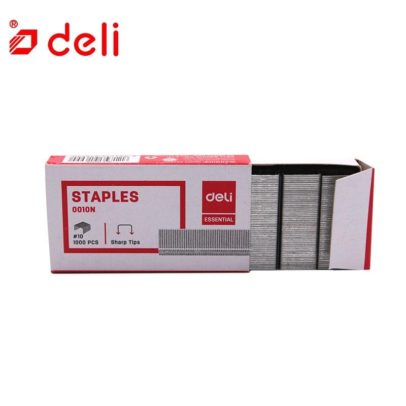 Deli 1000pcs/box Staples Office Metal Staple No.10 For Stapler Hot Staples Silver Normal Staple Plier Grape Nail Staples 0010N