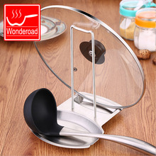Kitchen Gadgets Stainless Steel Pan Cover Holder Pot Lid Stand Shelf Chopstick Spoon Rest Spatula Rack Cooking Accessory
