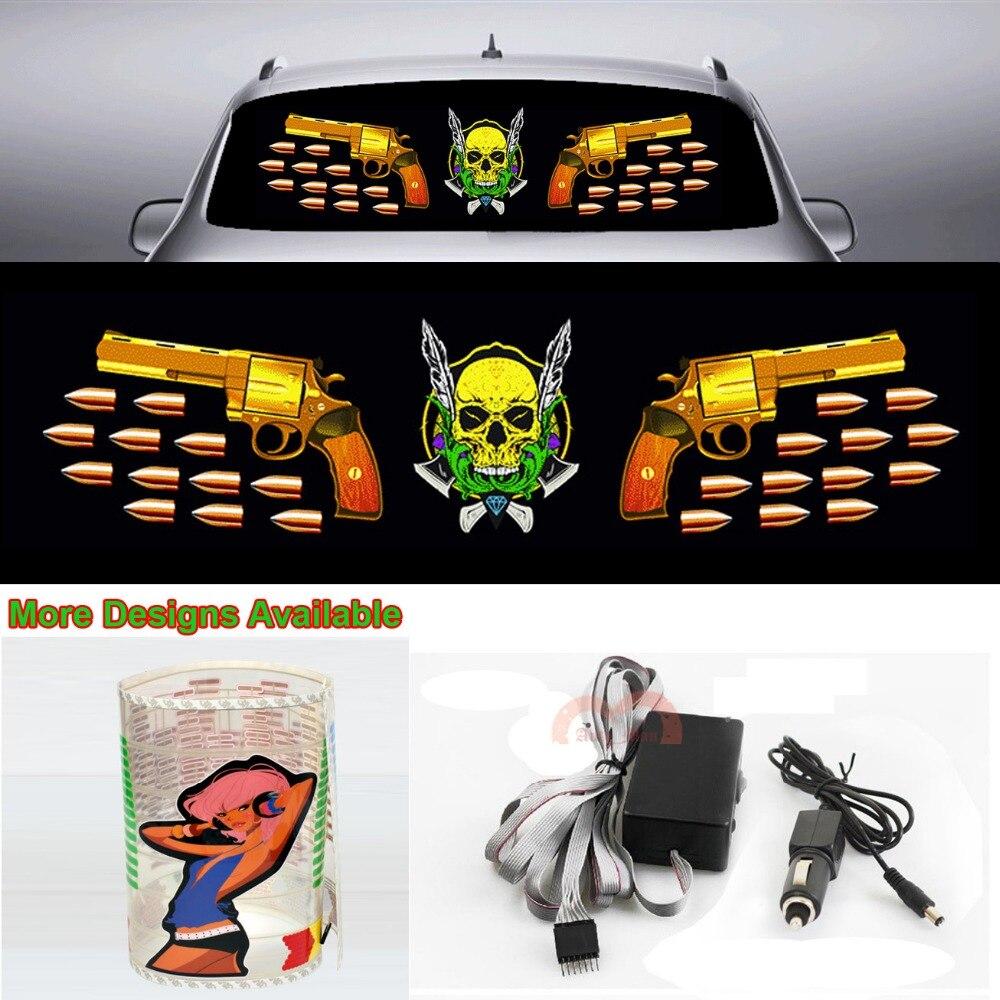 Пули пистолет череп стикер автомобиля музыка ритм вспышка света звук активированного эквалайзер 90см*25см 35.4*9.84 в