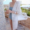 Summer Long Cardigan Women  Hollow out flowers Lace Shawl sunscreen Beach Female Outwear Sweater  SR001