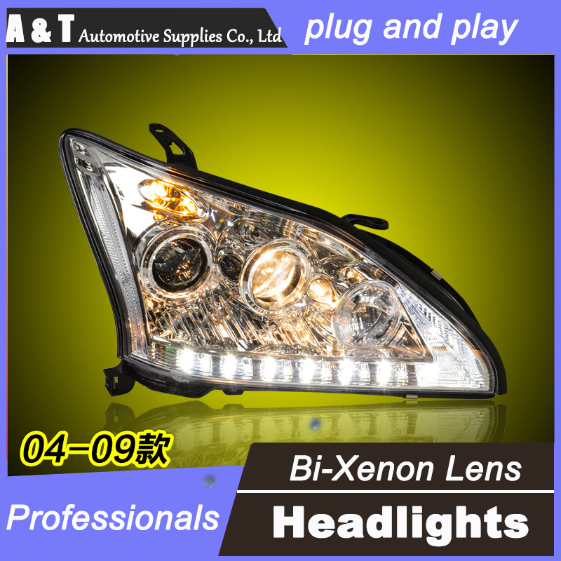 car styling For Lexus RX350 headlight assembly angel eyes 2004-2009 For RX350 bi xenon lens h7 with hid kit 2pcs. 1pc 2 5 hid xenon ultimate bi xenon projector lens parking car styling headlight diy lamp for h1bulb with shrouds h4 h7 socket