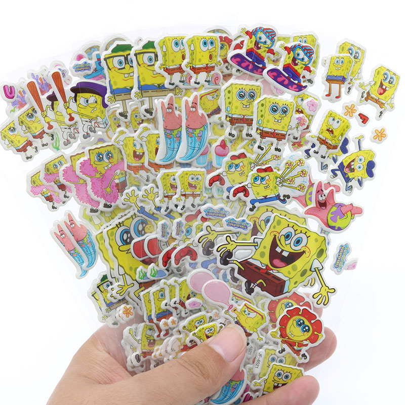 10pcs Cute Cartoon Sponge Baby 3D Bubble Sticker Album Decoration Stickers Children Stationery Stickers (Style Random)