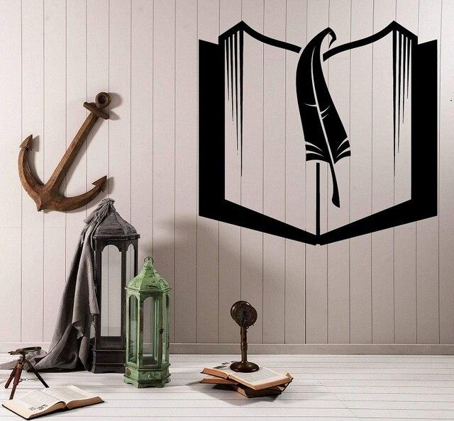 كتاب و المرجعية الفينيل الجدار ملصق مائي المدرسة مكتبة الفصول الدراسية دراسة غرفة الأطفال ديكور المنزل الفن الجدار ملصق YD10