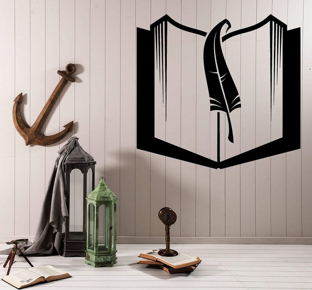 Book and bookmark vinyl wall decal school library classroom study children room home decoration art wall sticker YD10