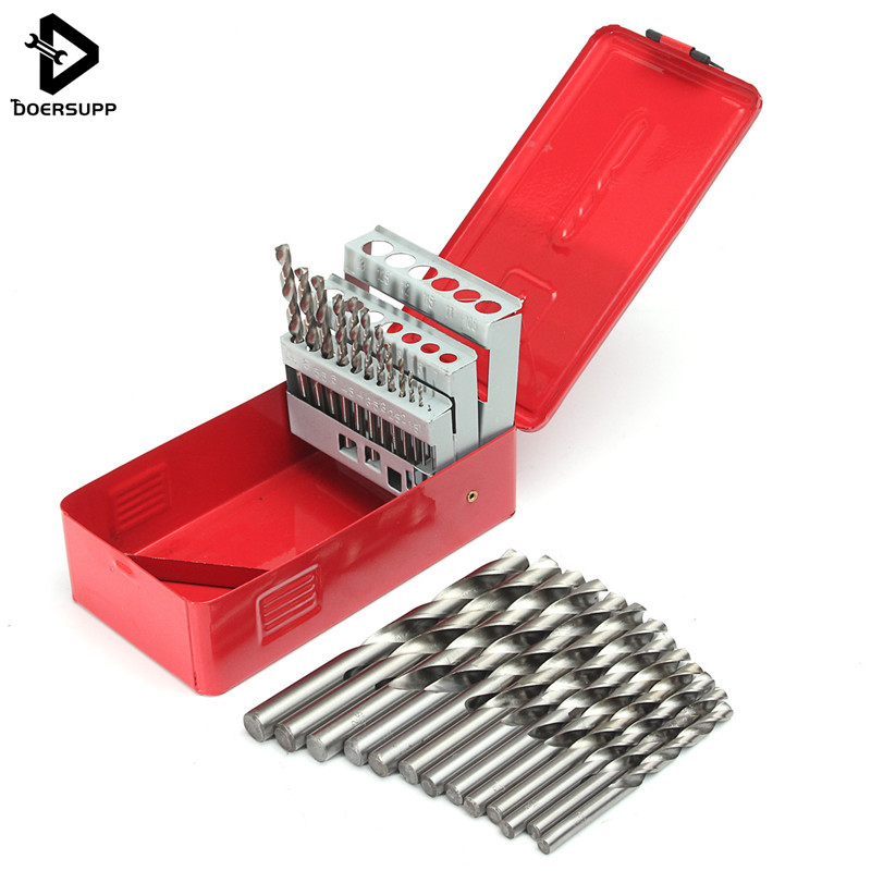 25Pcs Twist Drill Bit High Speed Steel Wood Drilingl Kit Set Drilling Bit Metal Metric Tool 1-13mm Power Tool Set High Quality best promotion 10pcs set diamond holesaw 3 50mm drill bit set tile ceramic porcelain marble glass top quality