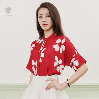 Van Faith Lane Printed Shirt Female Korean Fan Chiffon Blouse All Loose Bat Sleeve Chiffon Shirt