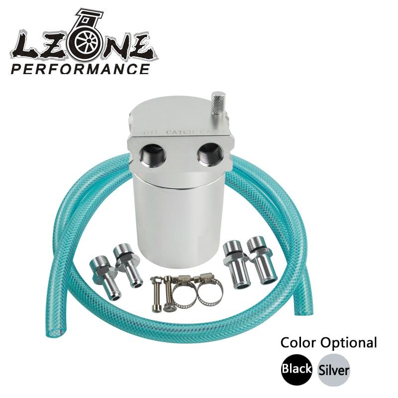 LZONE RACING - Universal Black Baffled Universal Aluminum Oil Catch Tank Can Reservoir Tank FIT FOR MUSTANG JR-TK63