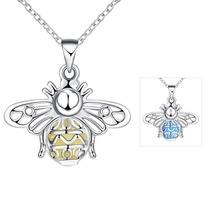Color Glowing Bee Glow In The Dark Lucky Pendant Necklace Silver Plated Animal Luminous Glowing Stone Necklace Women