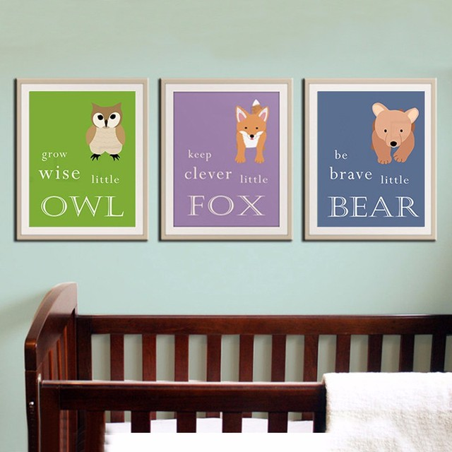 Woodland Nursery Decor Bear Owl Baby Art Wall Picture Canvas Prints
