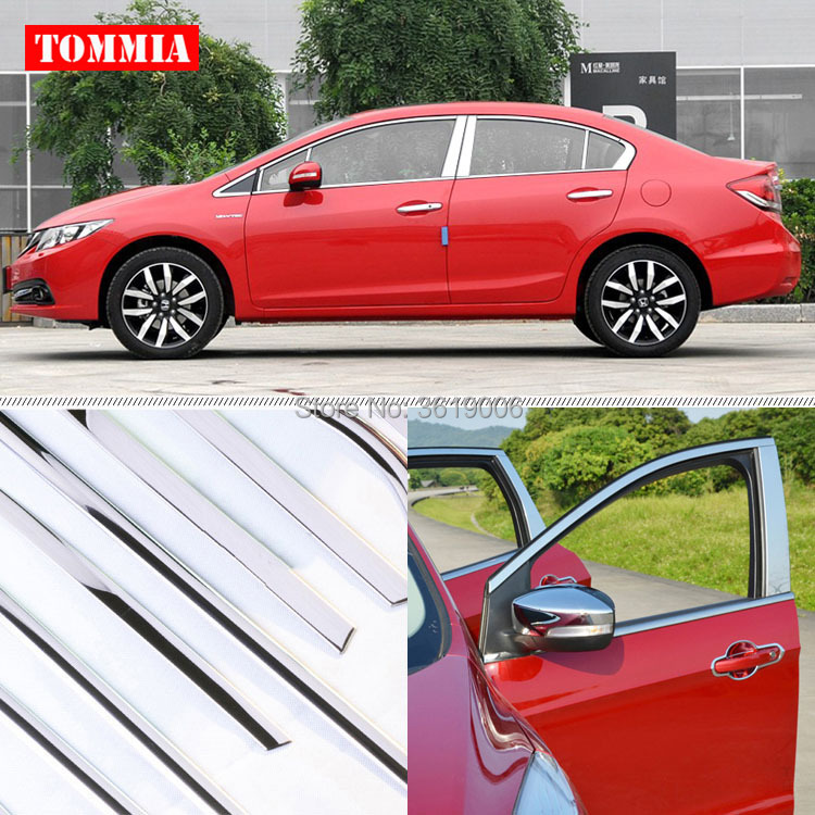 TOMMIA Full Window Middle Pillar Molding Sill Trim Chromium Styling Strips Stainless Steel For Honda Civic 2012 2014|honda steel|window sill|window trim molding - title=