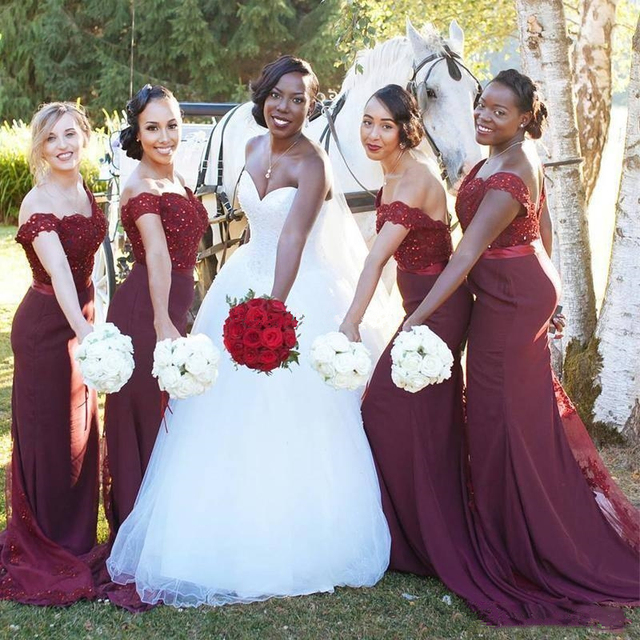 36a4245fd6e Burgundy Mermaid Bridesmaid Dresses Off Shoulders Beads Lace Appliques  Wedding Guest Dress Maid Of Honor Formal Party Gowns
