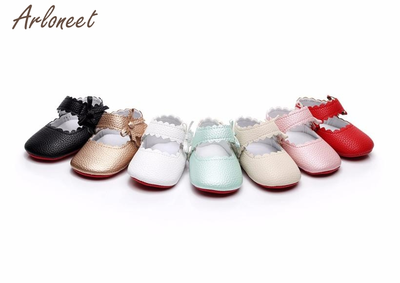 2018 baby shoes first walkers PU solid Baby Toddler Newborn Girls Boys Soft Sole Wave Bowknot Shoes JAN29