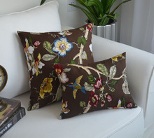 Brown pillowcase for sofa cushion an idyllic scene Nordic cotton case car waist pillow case birds and flower home decor