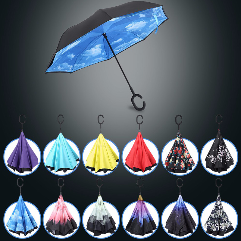 12 Colors Windproof Double Layer Folding Inverted Umbrella Rain Protection Car Reverse Umbrellas With C-shaped Handle For Adult
