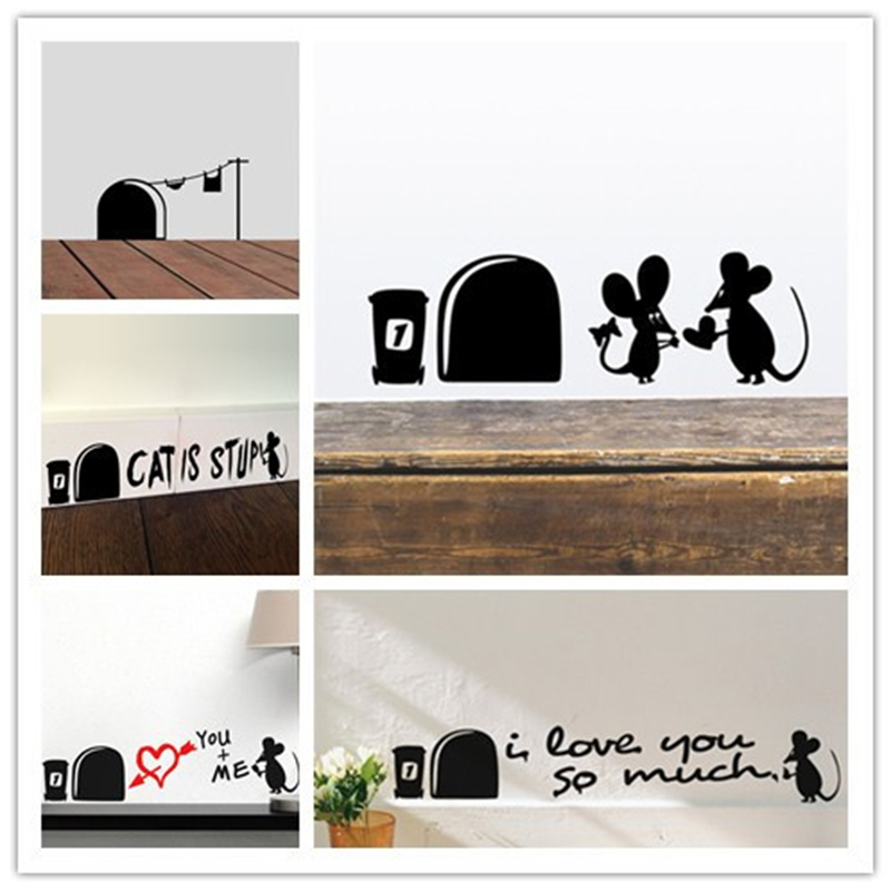 Funny Love Mouse Hole Wall Stickers For Kids Rooms Wall decals vinyl Mural Art Home decoration Vintage Poster(China)