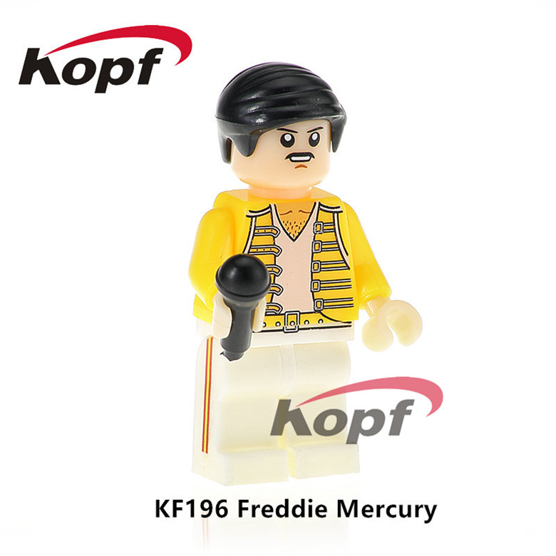 20Pcs KF196 Super Heroes Freddie Mercury Lead Singer Queen Michael Jackson Popeye Building Blocks For Model Children Gift Toys