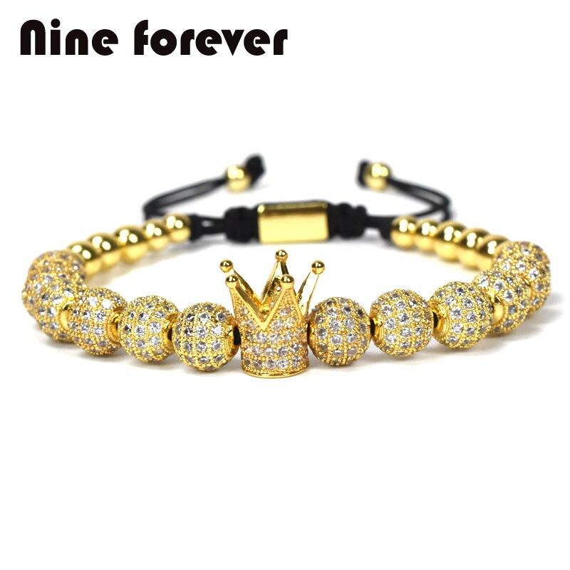 Neun immer schmuck crown charms Armband paar Armbänder für männer frauen pulseira masculina pulseira feminina bileklik