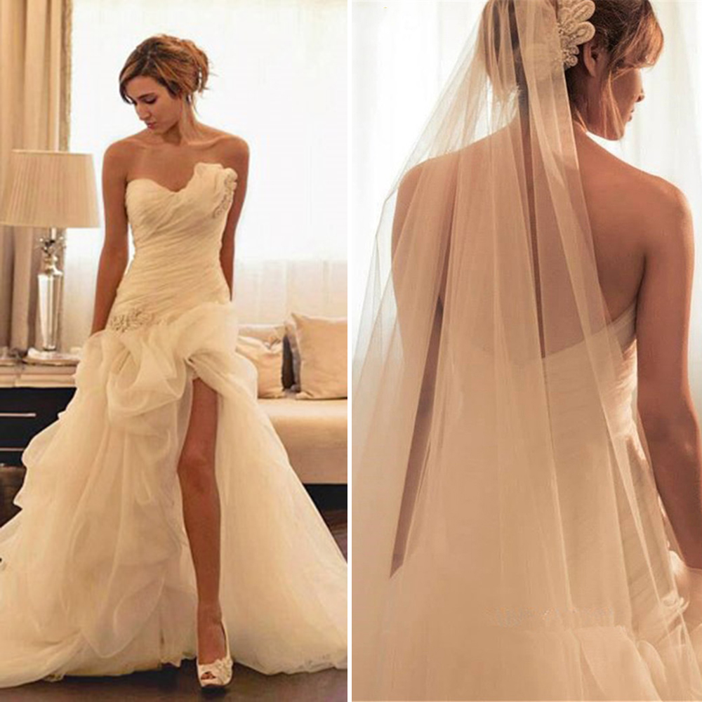 Luxury pleat ivory wedding dresses 2016 beaded lace tulle for Tulle high low wedding dress