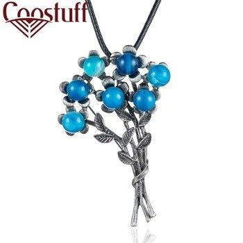 Venta al por mayor collar largo joyería de mujer hermoso Azul Rojo flor colgante mujer collar gargantilla kolye bijoux mujer