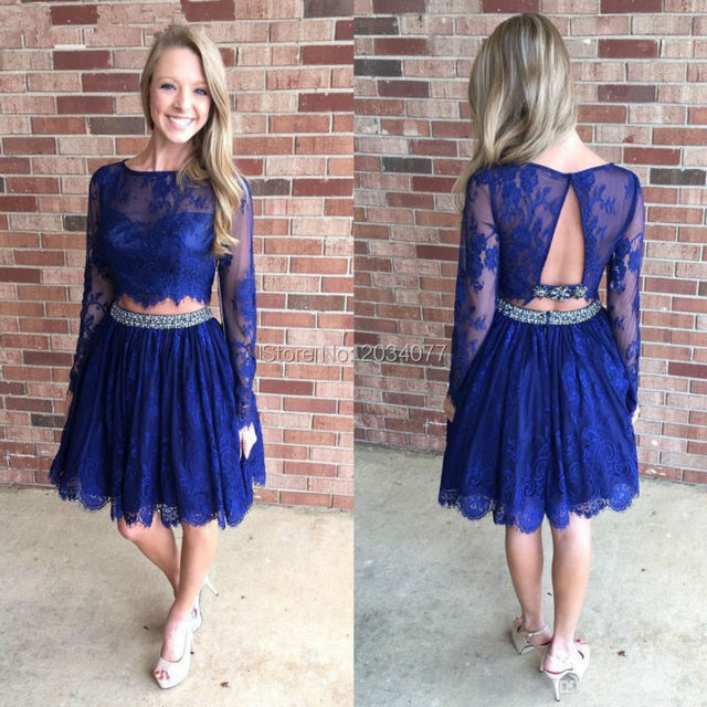 Us 1375 Short Crystal 2 Piece Prom Dresses Long Sleeve Lace Imported Party Dress Beaded Knee Length 2017 Vestidos De Graduacion In Prom Dresses