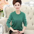 2016 Middle-aged Spring And Summer Long Sleeve Sweaters Women Hedging O Neck Loose Knitwear Mother Dress Solid Tops Thin J176