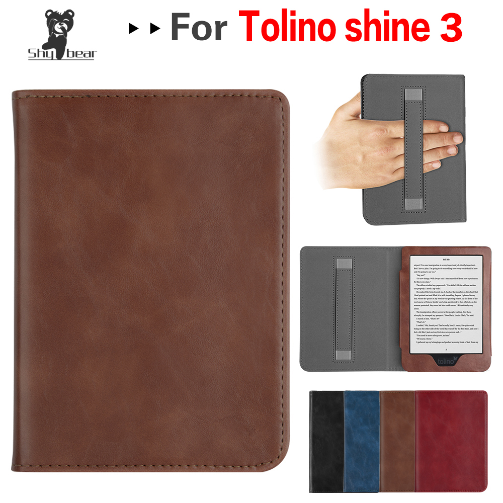 Protective Book Cover for 6 Inch E-Book Tolino Shine 3 E-Reader Magnetic Case with Hand Holder + GiftProtective Book Cover for 6 Inch E-Book Tolino Shine 3 E-Reader Magnetic Case with Hand Holder + Gift
