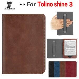 case funda for Tolino Shine 3 cover for tolino shine 3 6 inch e-reader leather case with Hand Holder for tolino shine 3 ebook(China)