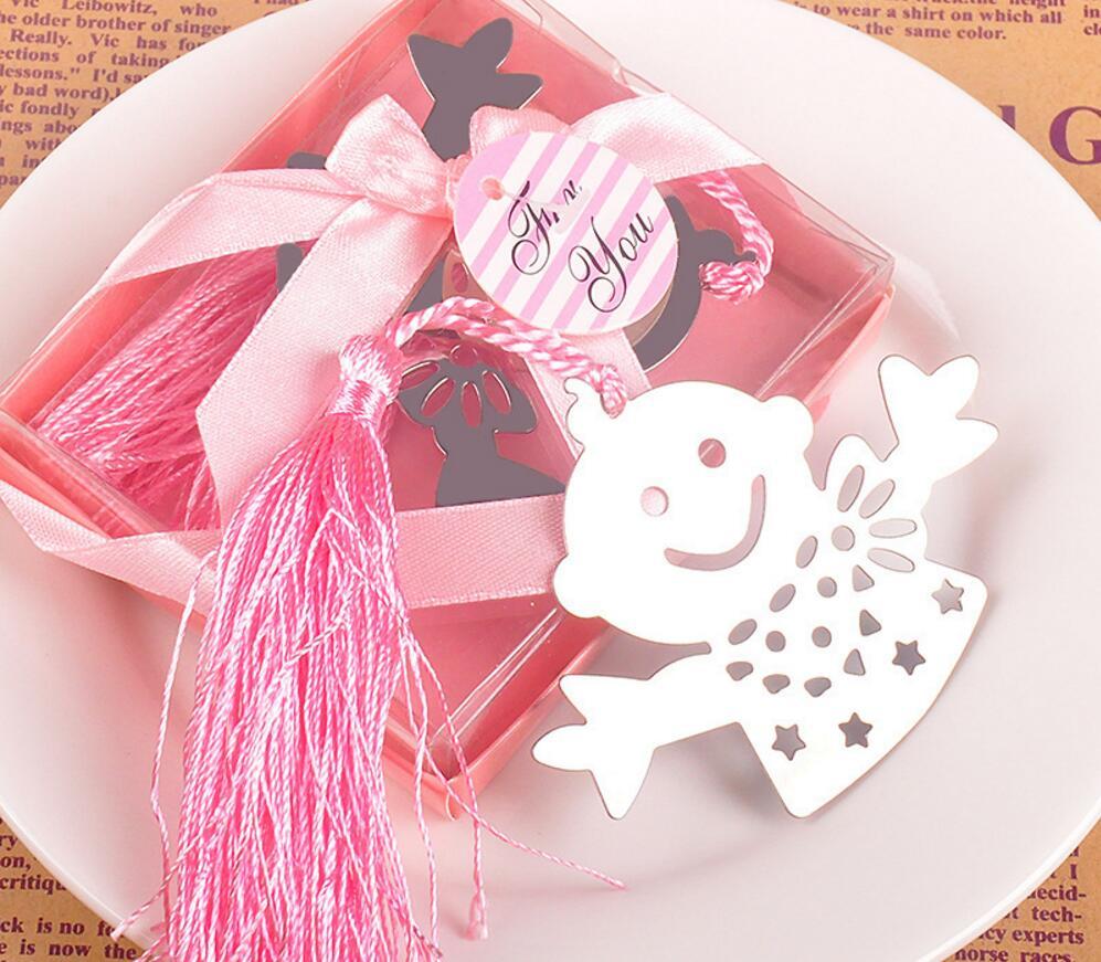 30pcs Silver Stainless Steel Pink/Blue Cute Baby Bookmark For ...