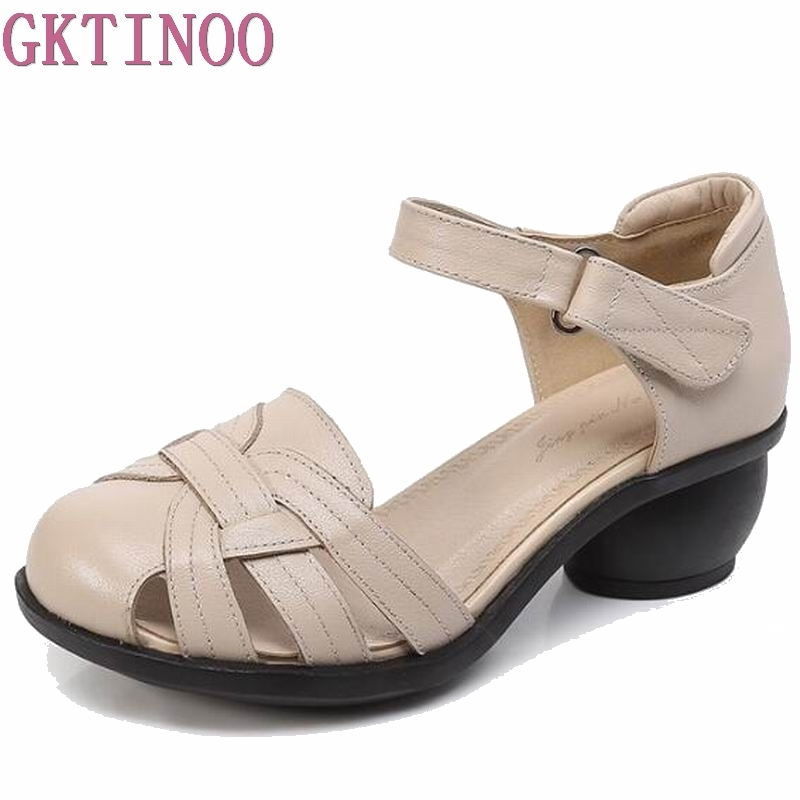 Summer sandals female handmade genuine leather women casual comfortable woman shoes sandals women summer shoes HY1983