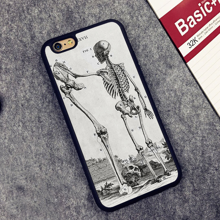 Skeleton Study Printed Soft Rubber Mobile Phone Case OEM For iPhone 6 6S Plus 7 7 Plus 5 5S 5C SE 4 4S Back Cover Shell