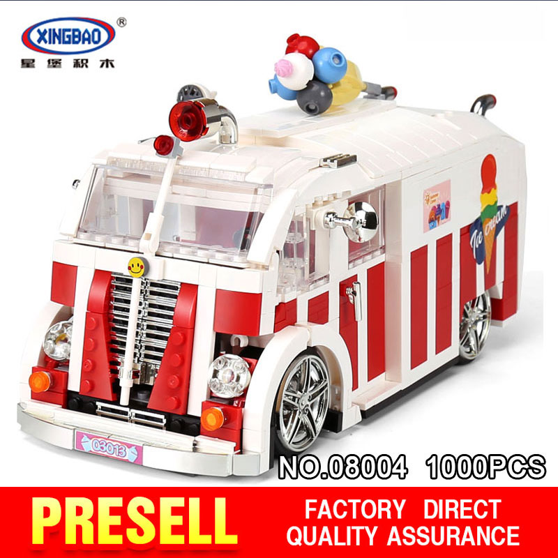 XINGBAO 08004 1000Pcs Creator The Ice Cream Car Set Building Blocks Bricks Children Educational toys Model as Christmas the ice diet
