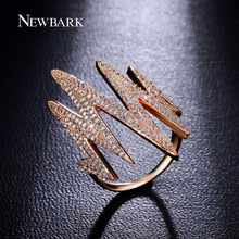 NEWBARK Punk Style Flash Ring Tiny Zirconia Paved Finger Rings For Women Fashion Jewelry Rose Gold / White Gold Plated