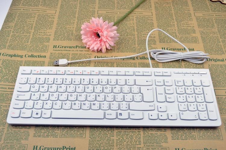 Arabic Version Arabic Keyboard Computer Slim Thin Wired Keyboard White USB Original Export Arabia