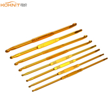 8 Pcs KOKNIT Gold Double-Head Crochet Hook Set Knitting Needles Yarn Weave Craft Tools