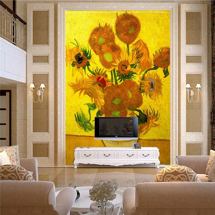 Vintage Van Gogh Sunflower Art Wall Mural photo Wallpaper ...