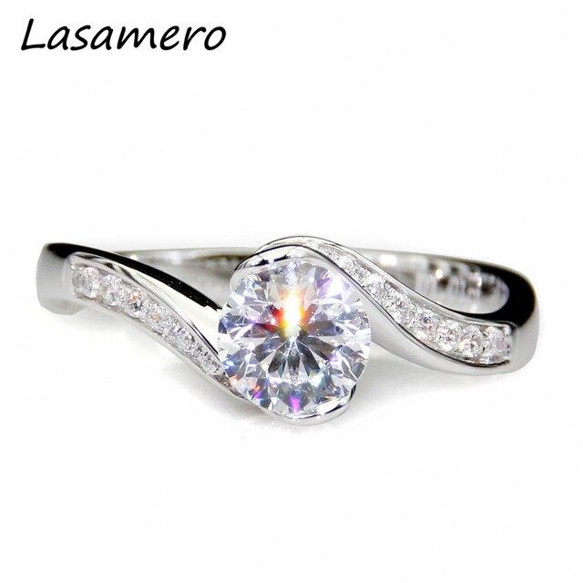 77df79acae4eb US $429.0 |LASAMERO Rose Style 1CT Test Positive Moissanites Flower Halo  Ring 9k White Gold Lab Grown Diamond Engagement Wedding Rings-in Rings from  ...