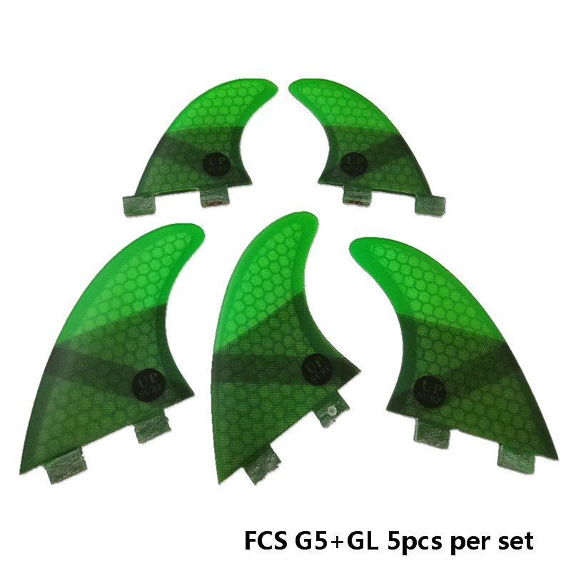 Surfing 5pcs FCS Fins G5 with GL Fin Honeycomb Fibreglass Fins G5 GL Green FCS Quilhas Fins in Surfing from Sports Entertainment