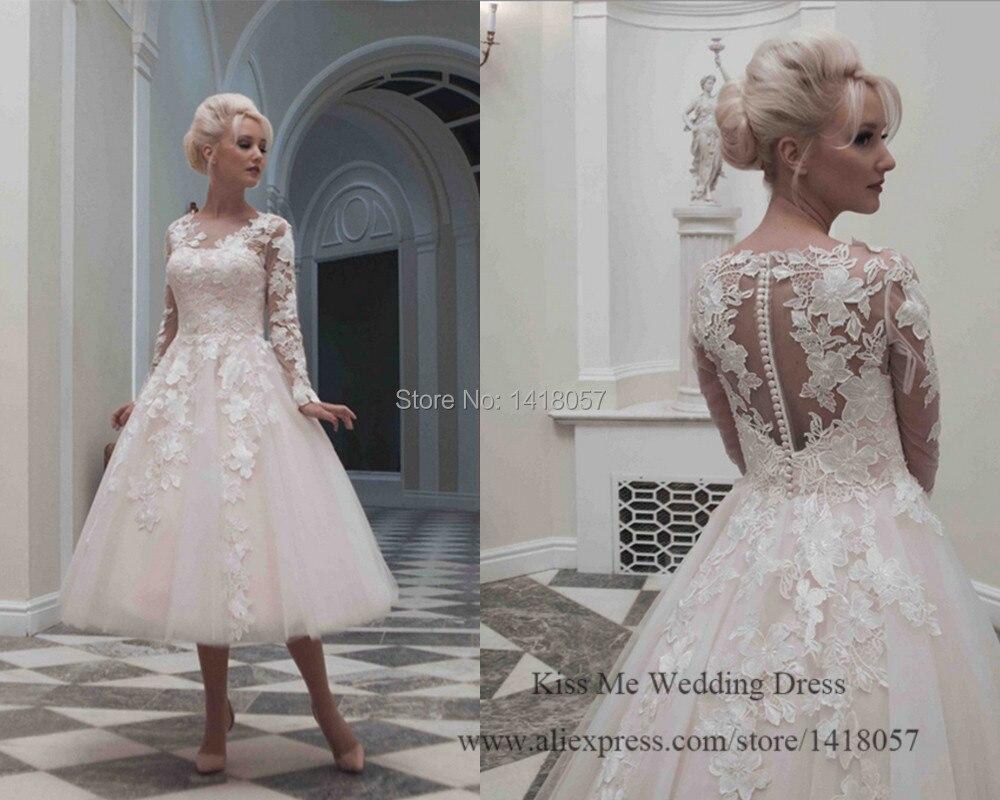 Popular Lace Tea Length Wedding Dress-Buy Cheap Lace Tea