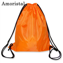 Unisex Casual Drawstring Bag Polyester Women String Sack Girl's Beach Backpack Male Folding Shopping Bag Men Football Bags B220