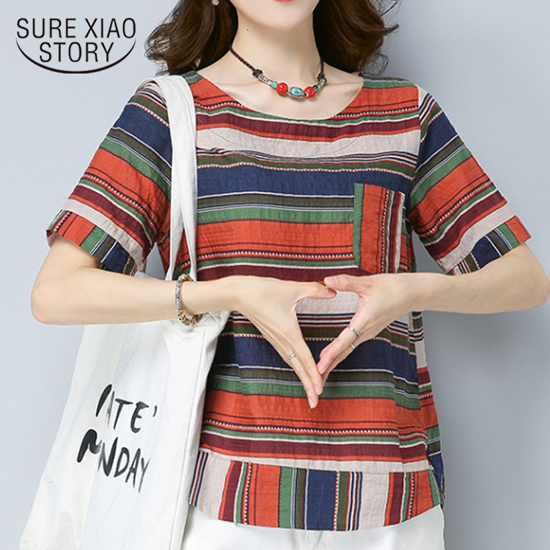 New 2018 Summer Fashion Casual Stripe Women   Blouse     Shirt   Short Sleeve Plus Size Women Tops Cotton Linen Clothing Blusas D805 30