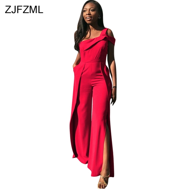 One Shoulder Elegant Jumpsuits For Women 2018 High Side Split Sleeveless Wide  Leg Pant Romper Sexy Red Open Back Party Overalls 1fa39f1aa26a