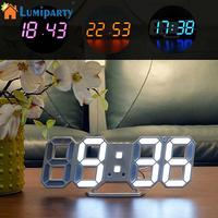 LumiParty Creative Night Light 3D LED Clock Wall Sticker Set DIY Art Mural Home Bedroom Decoration