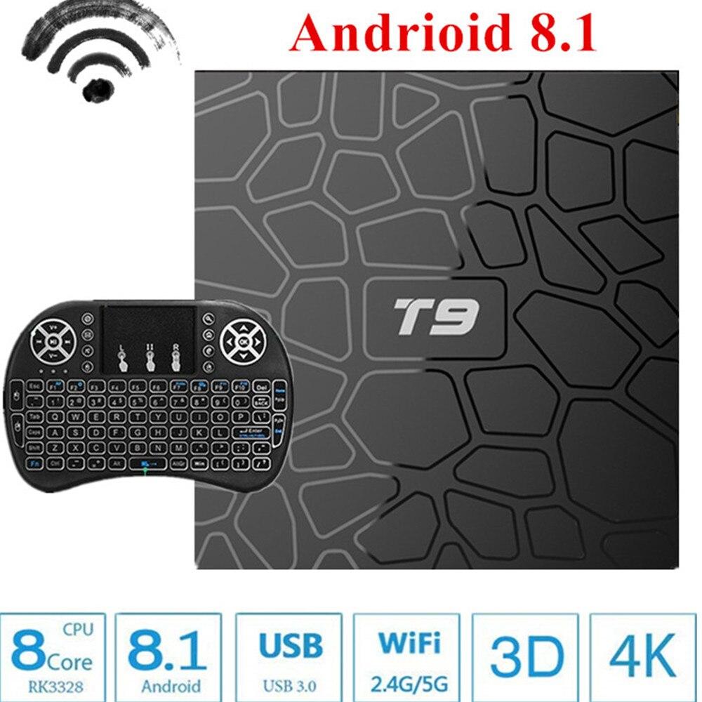 2018 T9 TV Box Android 8.1 8 1 4GB 32GB 64GB Smart TV Prefix Rockchip RK3328 1080P H.265 4K Google Play Netflix Media Player