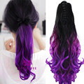 """Fashion Cheap Curly Wavy Purply Ombre Ponytail Hairpieces 20"""" 50cm Synthetic Claw Clip On Hair Extensions Pony Tail B40"""