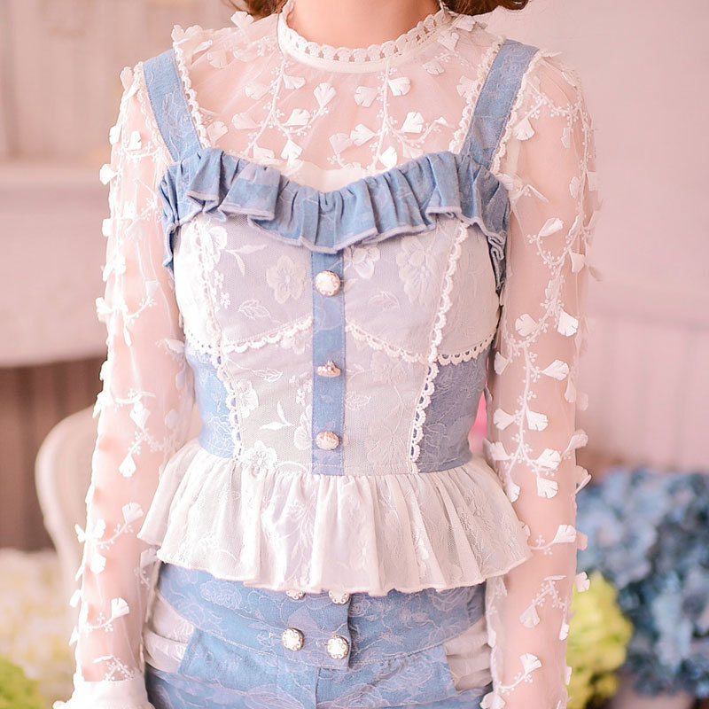 Princess sweet lolita camis Candy rain hollow out lace jeans cowboy cloth bow waistcoat patchwork camis C15CD5852