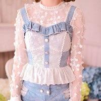 Prinzessin sweet lolita camis Candy regen aushöhlen spitze jeans cowboy tuch bogen weste patchwork camis C15CD5852