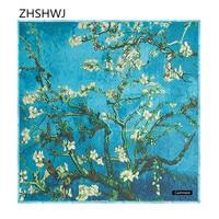 [ZHSHWJ] il trasporto Libero 100% cashmere sciarpa donne autunno e l'inverno 130 cm * 130 cm pittura a olio albero di albicocca caldo scialle