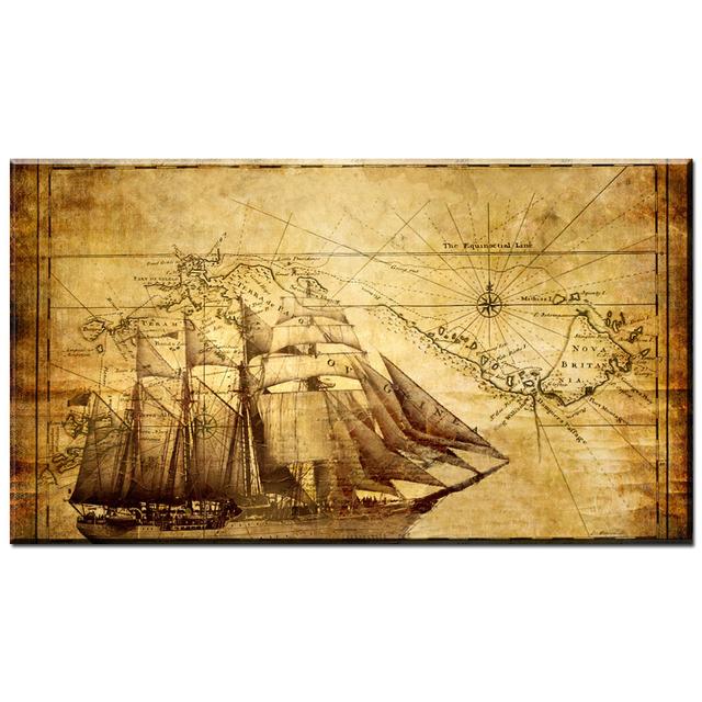 Zz2159 Modern Canvas Art Nostalgic Retro Poster Pirates Caribbean Treasure Map Wall Paper Painting